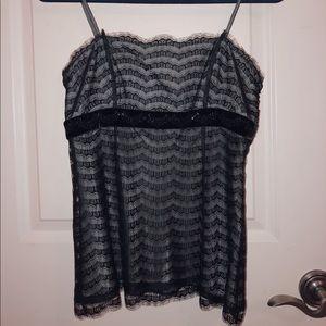 ANN TAYLOR: Black Lace Cami Top